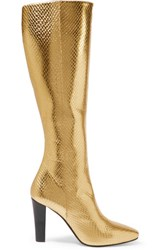 Saint Laurent Lily Metallic Snake Effect Leather Knee Boots Gold