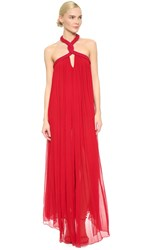 Jay Ahr Halter Gown Red
