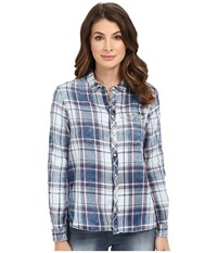 G Star Tacoma One Pocket Boyfriend Shirt In Indigo Lirt Flannel Check Indigo Burgundy Check Women's Clothing Blue