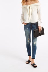 R 13 Kate Distressed Skinny Jeans Blue