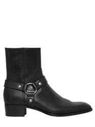 Saint Laurent 40Mm Wyatt Belted Leather Cropped Boots