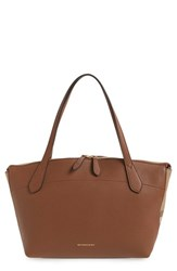 Burberry 'Welburn' Derby House Check Leather Tote Brown Tan