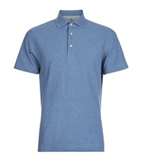 Brunello Cucinelli Pique Cotton Polo Shirt Male Blue