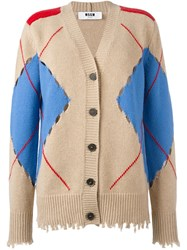 Msgm Distressed Argyle Cardigan Nude And Neutrals
