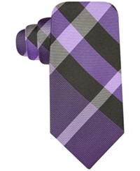 Ryan Seacrest Distinction Exploded Plaid Slim Tie Purple