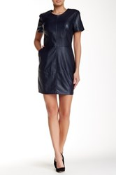 1.State Faux Leather Front Shift Dress Blue