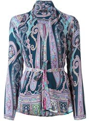 Etro Printed Wrap Blouse Pink And Purple