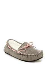 Gold Toe Faux Fur Moccasin Slipper Gray