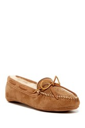 Minnetonka Sheepskin Lined Soft Sole Moccasin Brown
