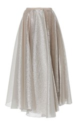 Dice Kayek Pleated Tea Length Skirt Silver