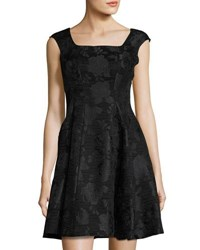 Donna Ricco Square Neck Brocade Dress Black Pattern
