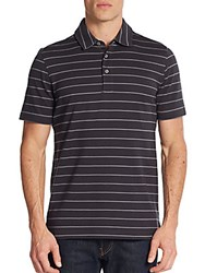 Saks Fifth Avenue Striped Pique Cotton Polo Shirt Charcoal