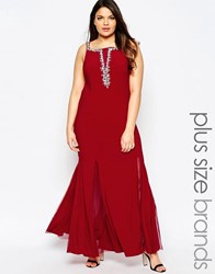 Forever Unique Maxi Dress With Plunge Neckline And Embellished Detail Red