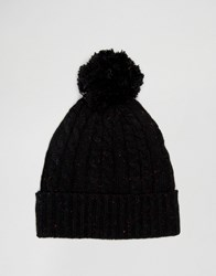 Asos Cable Bobble Beanie In Black Nep Black