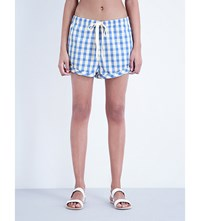 Solid And Striped The Drawcord Cotton Linen Blend Shorts Blue Gingham