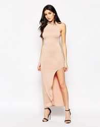 Ax Paris Maxi Dress With High Neck And Side Split Beige