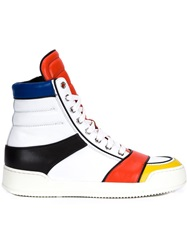 Balmain Striped Hi Top Sneakers White