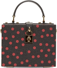 Dolce And Gabbana Black And Red Polka Dot Leather Cady Box Bag