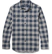 Grayers Checked Cotton Flannel Shirt Blue