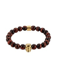 Northskull Red Tiger Eye And Perforated Gold Skull Charm Bracelet