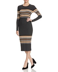 Three Dots Rosita Multi Stripe Sweater Dress Charcoal