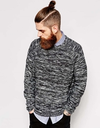 Dr. Denim Dr Denim Crew Knit Jumper Jazz Melange Stripe Raglan Blackmix