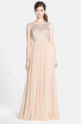 Jenny Yoo 'Gwenyth' Metallic Lace And Chiffon Gown Beige