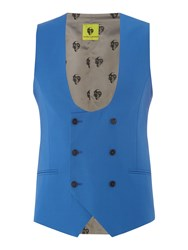 Noose And Monkey Double Breasted Waistcoat Blue
