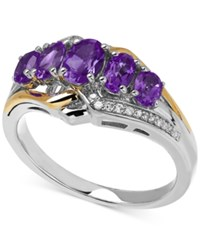 Macy's Amethyst 1 1 4 Ct. T.W. And Diamond Accent Ring In 14K Gold And Sterling Silver