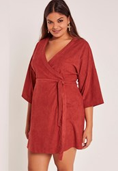 Missguided Red Plus Size Faux Suede Kimono Dress Rose