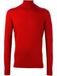 Laneus Roll Neck Jumper Red
