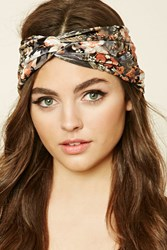 Forever 21 Floral Twist Front Headwrap Charcoal Multi