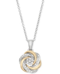 Macy's Diamond Swirl Pendant Necklace 1 10 Ct. T.W. In Sterling Silver And 14K Gold