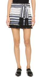 Derek Lam Basket Weave Skirt With Fringe Detail Denim Black White