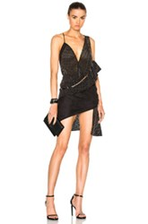 Anthony Vaccarello Combo Perforated Ruffle Spaghetti Strap Dress In Black