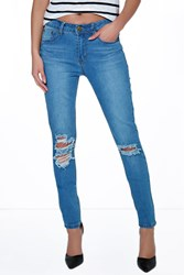 Boohoo Ripped Knee Skinny Jeans Blue