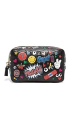 Anya Hindmarch All Over Wink Stickers Make Up Pouch Black