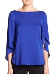 Milly Stretch Silk Butterfly Blouse Cobalt