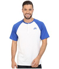 Nike Sb Dri Fit Henley Game Royal Birch Heather Game Royal Men's Short Sleeve Pullover White