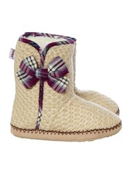 Totes Knit And Tartan Boot Natural