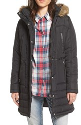 Maralyn And Me Women's Quilted Puffer Coat With Faux Fur Trim Hood