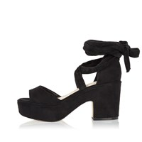 River Island Womens Black Soft Tie Up Platform Block Heels