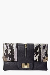 Boohoo Camouflage And Metal Detail Clutch Bag Black
