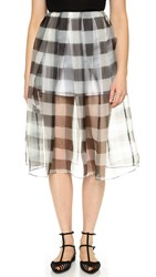 Kendall Kylie Organza Pleated Skirt Gingham