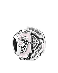 Pandora Design Pandora Charm Sterling Silver Cubic Zirconia And Enamel Delicate Rose Moments Collection Pink