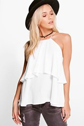 Boohoo Holly High Neck Double Layer Cami White