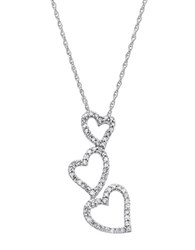 Lord And Taylor 14 Kt. White Gold Diamond Heart Drop Necklace