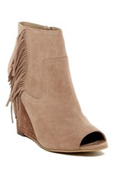 Abound Willow Fringe Peep Toe Wedge Bootie Brown
