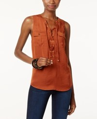 Inc International Concepts Sleeveless Lace Up Top Only At Macy's Rawhide