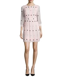 Kate Spade 3 4 Sleeve Polka Dot Pleated Dress Pastry Pink
